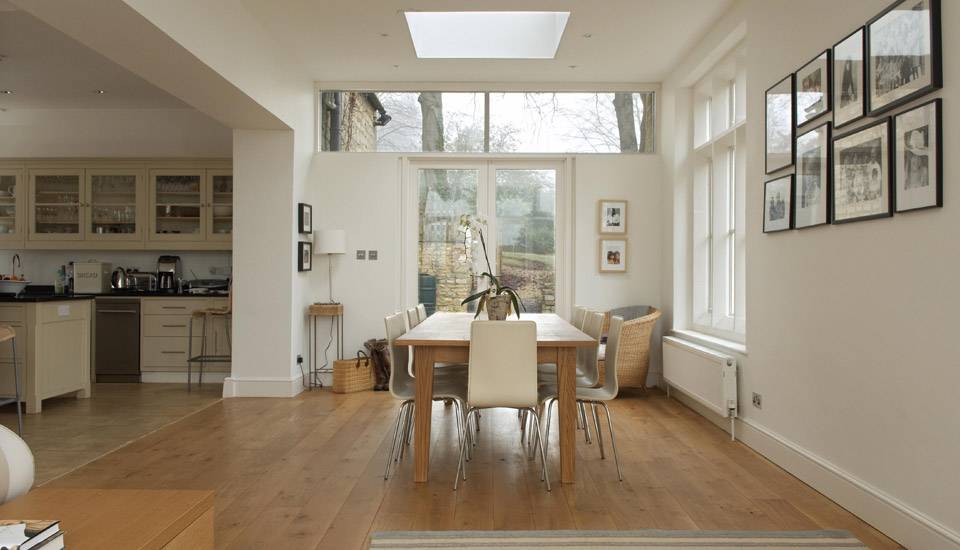 A Single Storey Side Extension To Large Edwardian Cotswold Stone House Providing New Formal Dining Room Opened Up Both The Kitchen And Sitting